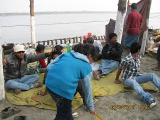 Taki Picnic - enjoying picnic near river site - other side you can see Bangladesh
