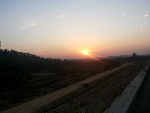 Sunset over Mukutmanipur dam